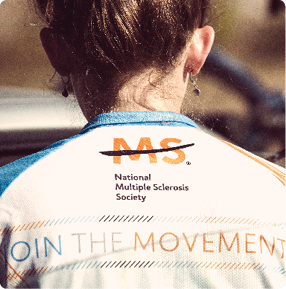 Woman's back with Bike MS jersey on